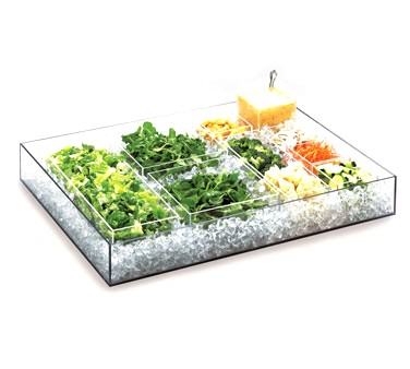"Cal-Mil 1399-12 Cater Choice System Clear Ice Housing 24"" x 16"" x 4-1/4"""