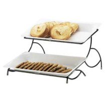 Cal-Mil 1405-13 Iron 2-Tiered Black Plate Display , 15
