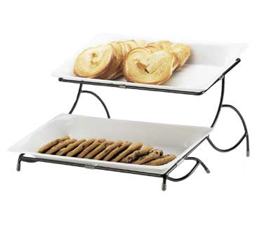 Cal-Mil 1405-15 Iron 2-Tiered White Plate Display Stand- 15