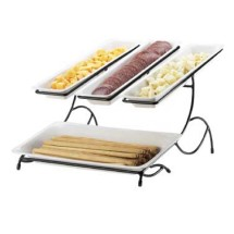 Cal-Mil 1406-15 2 -Tier Display and Server Stand With 3 White Trays