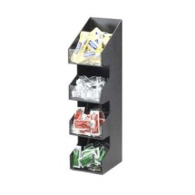 "Cal-Mil 1423 Classic Four Tier Black Condiment Display with Clear Bin Fronts 5-1/4"" x 6-3/4"" x 21"""