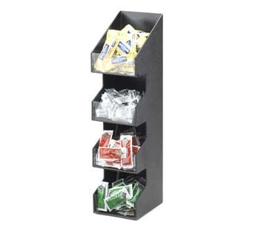 """Cal-Mil 1423 Classic Four Tier Black Condiment Display with Clear Bin Fronts 5-1/4"""" x 6-3/4"""" x 21"""""""
