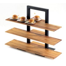"Cal-Mil 1464-48 Brown Three Tier Frame Stand - 18 1/4"" x 11"" x 25"""