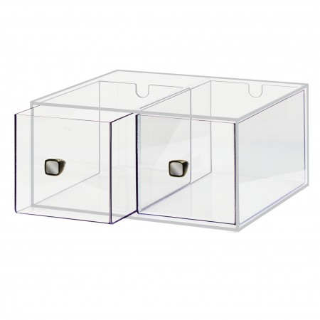"""Cal-Mil 1480 Eco Modern Two Drawer Acrylic Bread Box for 1279 Bread Case 12"""" x 12"""" x 6"""""""