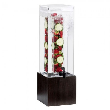 Cal-Mil 1527-1INF-96 Midnight Bamboo Acrylic Beverage Dispenser with Infusion Chamber 1.5 Gallon