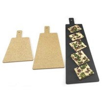 "Cal-Mil 1535-16-14 Natural Trapezoid Flat Bread Serving / Display Board with Handle 16"" x 8"" x 1/4"""