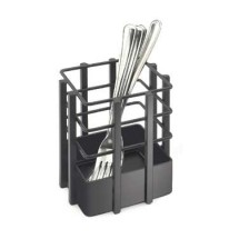 "Cal-Mil 1544-13 Soho Black Single Slot Metal Flatware Organizer 4"" x 4"" x 4-1/2"""