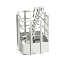 "Cal-Mil 1544-74 Soho Silver Single Slot Metal Flatware Organizer 4"" x 4"" x 4-1/2"""