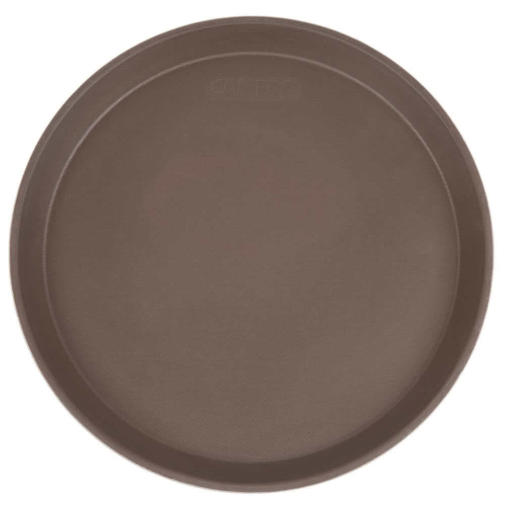 "Cambro 1100CT138 Camtread Tavern Tan Round Fiberglass Serving Tray 11"" - 1 doz"