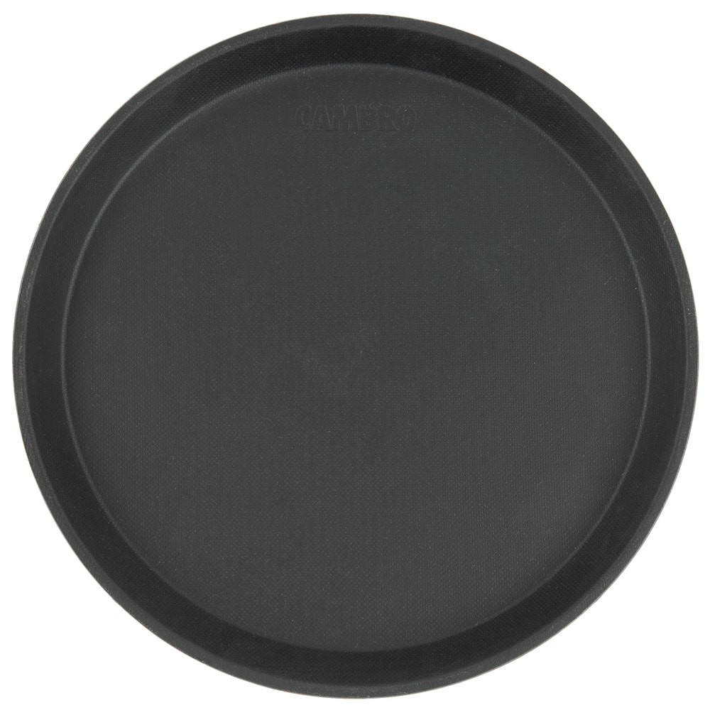 "Cambro 1400CT110 Camtread Black Round Non-Skid Serving Tray 14""  - 1 doz"