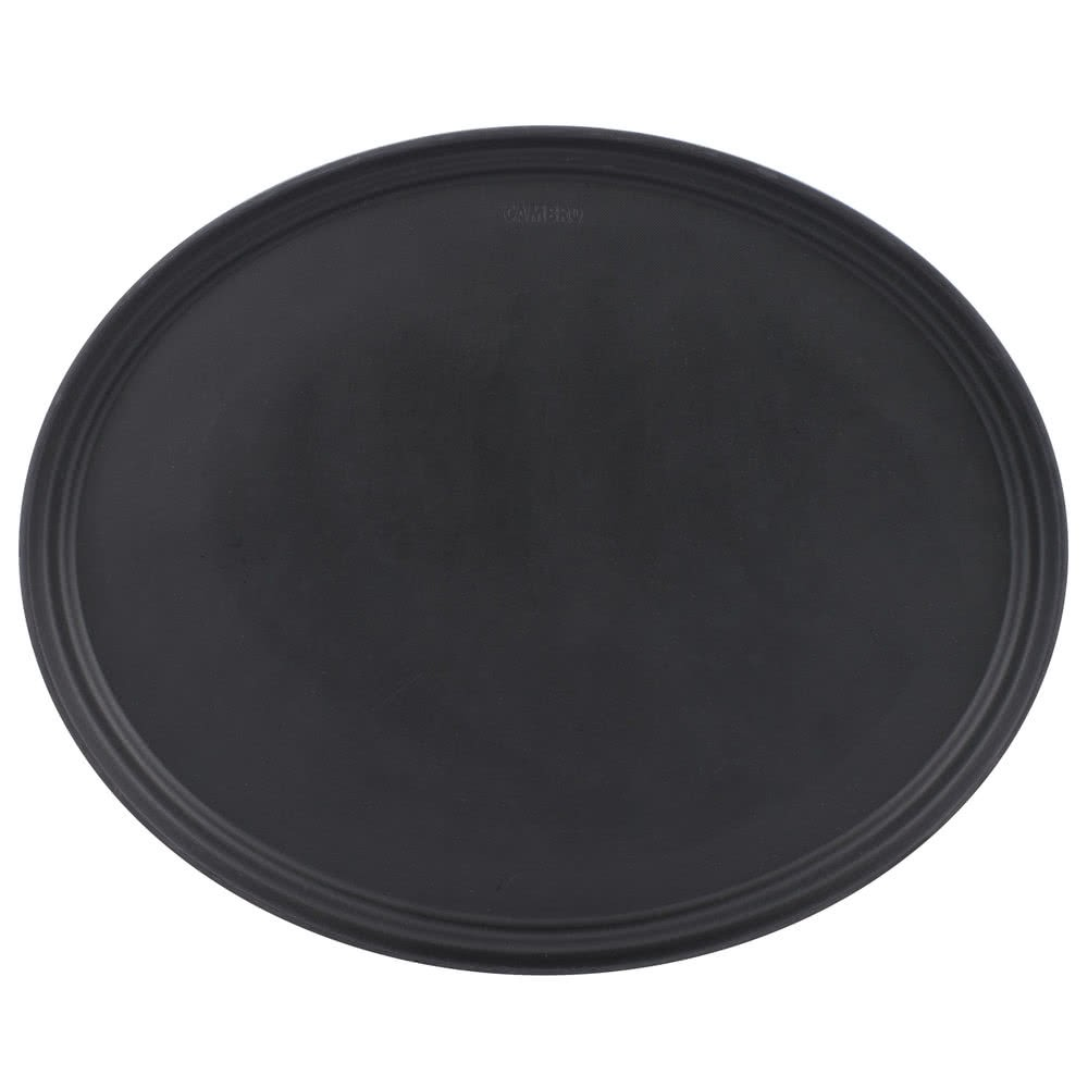 "Cambro 2500CT110 Camtread Black Oval Non-Skid Serving Tray 19"" x 23""  - 1/2 doz"
