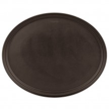 "Cambro 2500CT138 Camtread Tavern Tan Oval Non-Skid Serving Tray 19"" x 23""  - 1/2 doz"