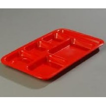 Carlisle 43982 Right Hand 6 Compartment Melamine Tray - 1 doz