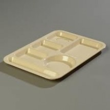 Carlisle 614PC Left Hand 6 Compartment Polycarbonate Tray - 2 doz
