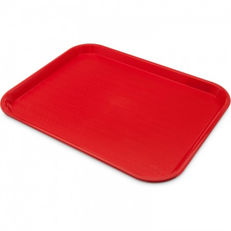 """Carlisle CT141805 Cafe Standard Plastic Red Tray 17-7/8"""" x 14"""""""