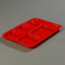 Carlisle P614R Right Hand 6 Compartment Polypropylene Tray - 2 doz