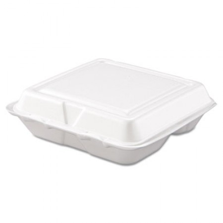 Dart Foam Hinged Lid, 3 Compartmentartment Food Container, White, 8 x 7 1/2 x 2 3/10, 200/Carton