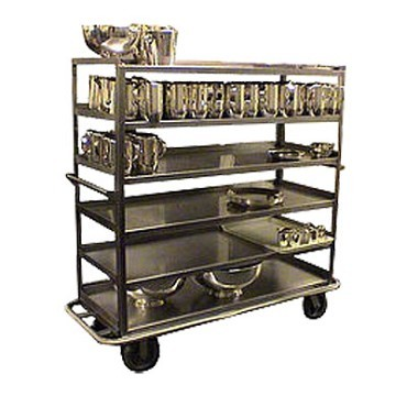 Carter-Hoffmann T610 Queen Mary Stainless Steel China / Silver Transporter, 6 Shelves, 67-3/4L