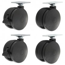 Alera Casters for Height-Adjustable Table Bases, Black, 4/Set