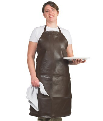 Chef Revival 604VBA37-BR Long Brown Vinyl Bib Apron