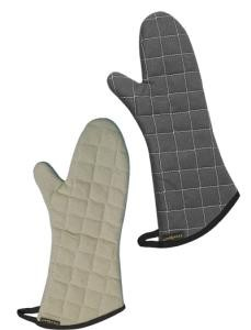 "San Jamar 800FG15BK 15"" BestGuard Temperature Protection Black Oven Mitt with WebGuard"