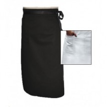 Chef Revival A007 Poly/Cotton White Chef Bistro Apron with Single Pocket