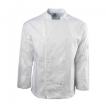 Chef Revival J003-M Poly Cotton White Long Sleeve Chef Jacket with Cloth Knot Buttons, Medium
