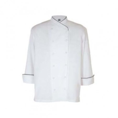 Chef Revival J008-5X Chef-Tex White Corporate Chef Jacket with Black Piping, 5X