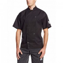 Chef Revival J045BK-S Chef-Tex Black Short-Sleeve Traditional Chef Jacket, Small