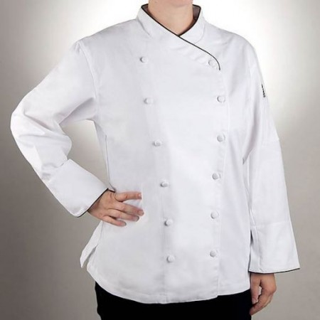 Chef Revival LJ008-2X Chef-Tex Ladies White Corporate Jacket with Black Piping, 2X