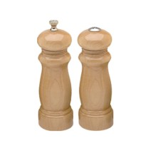 Chef Specialties 06200 Professional Series Salem Natural Pepper Mill and Salt Shaker Set, 6""