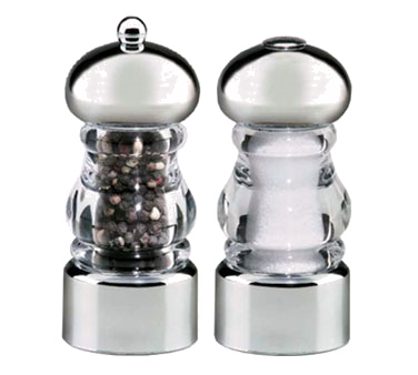 Chef Specialties 29160 Professional Series Lori Acrylic and Chrome Pepper Mill and Salt Shaker Set, 5 1/2""