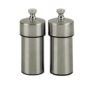Chef Specialties 29910 Professional Series Futura Stainless Steel Pepper Mill and Salt Mill Set, 4""