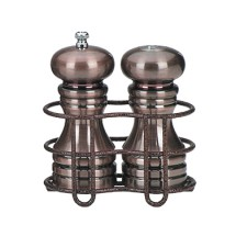 Chef Specialties 90055 Burnished Copper Pepper Mill and Salt Shaker Set Rack, 5""