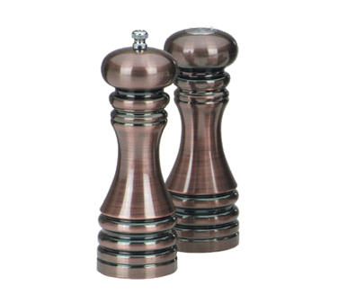 Chef Specialties 90070 Burnished Copper Pepper Mill and Salt Shaker Set, 7""