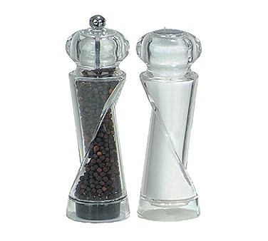 Chef Specialties 92080 Ellipse Acrylic Pepper Mill and Salt Shaker Set, 7 1/2""