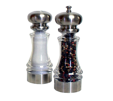 Chef Specialties 96851 Lehigh Acrylic Pepper Mill and Salt Shaker Set, 7""