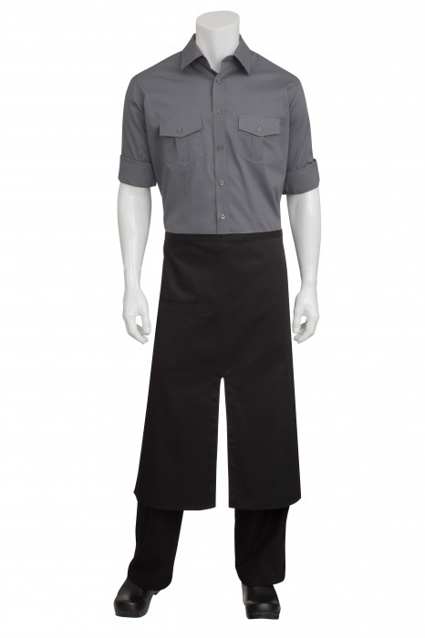 DISC Chef Works A400 Black Split Bistro Apron