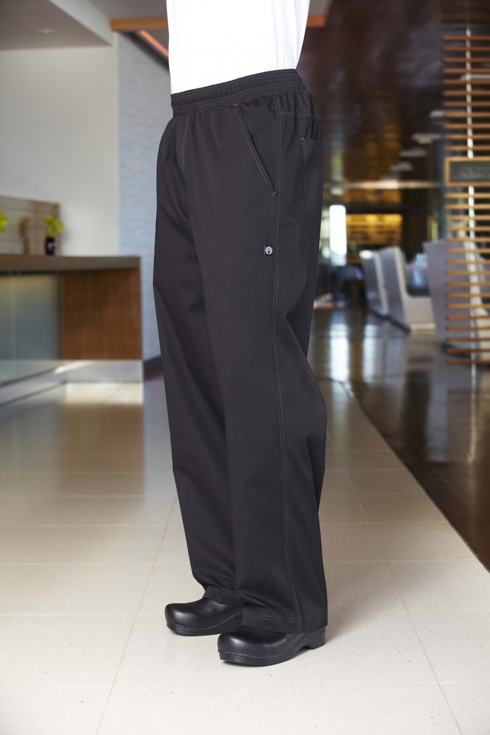 Chef Works BBLW Black Basic Baggy Lightweight Chef Pants