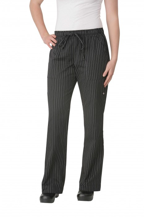 Chef Works BWOM-BPS Women's Pinstripe Black and White Chef Pants