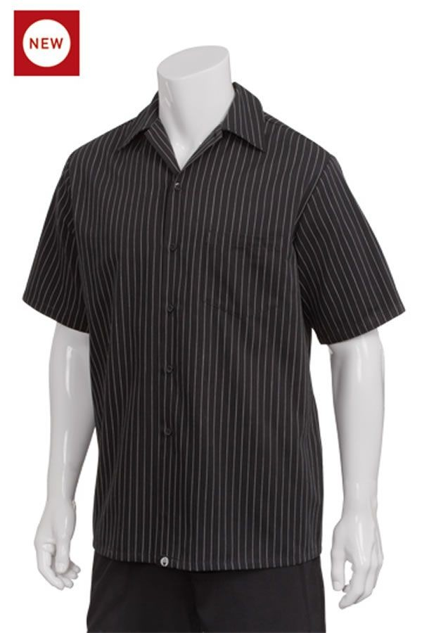 Chef Works CCSB Poly/Cotton Cook Shirt, Pinstripe