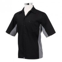 Chef Works CSMC-BLM Men's Universal Contrast Shirt, Black/Gray