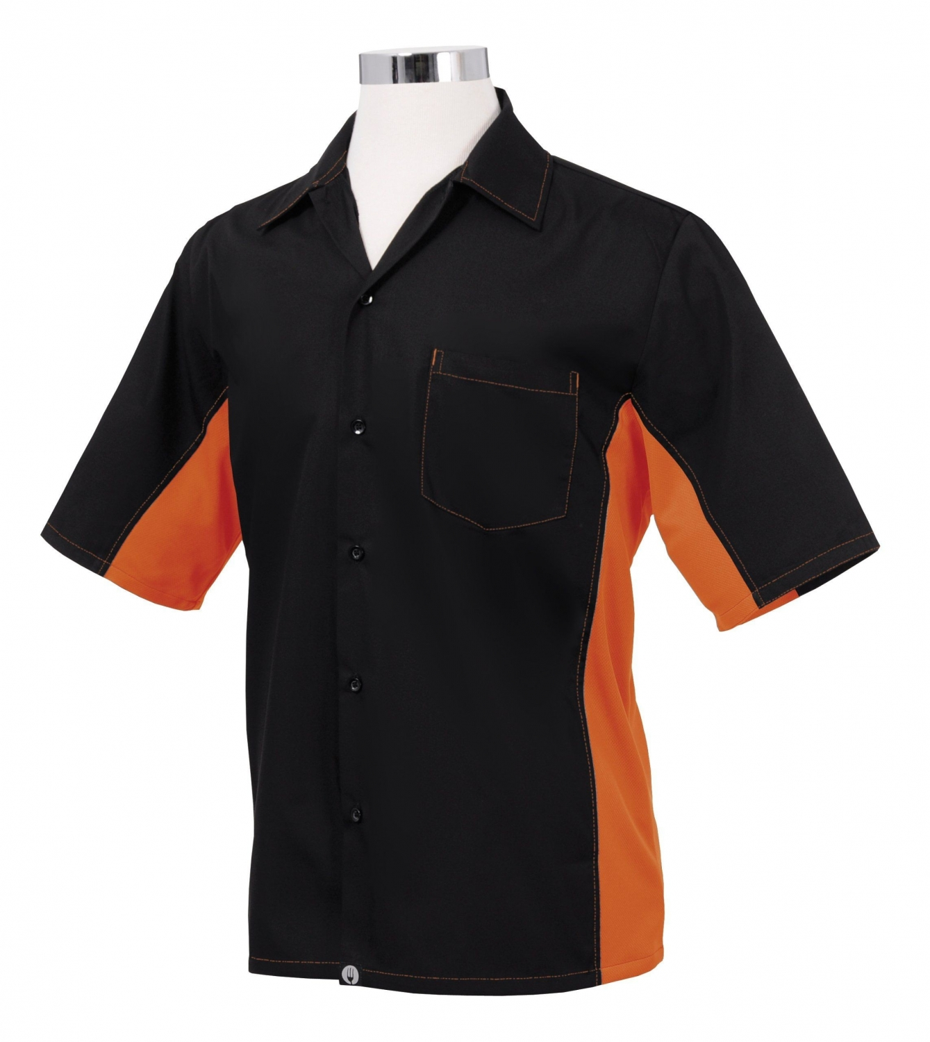 Chef Works CSMC-BLO Men's Universal Contrast Shirt, Black/Orange