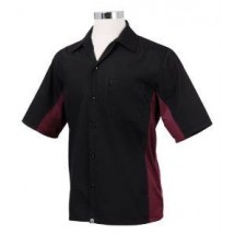 Chef Works CSMC-BME Men's Universal Contrast Shirt, Black/Merlot