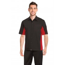 Chef Works CSMC-BRM Men's Universal Contrast Shirt, Black/Red