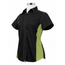 Chef Works CSWC-BKL Women's Universal Contrast Shirt Black,Lime