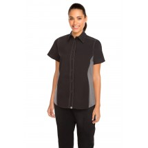 Chef Works CSWC-BLM Womens Universal Contrast Shirt Black,Gray