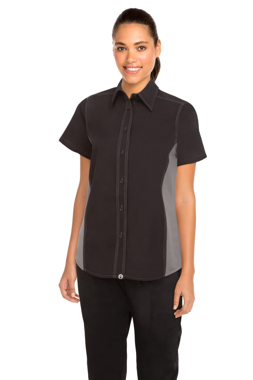 Chef Works CSWC-BLM Women's Universal Contrast Shirt Black,Gray