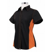 Chef Works CSWC-BLO Women's Universal Contrast Shirt Black,Orange
