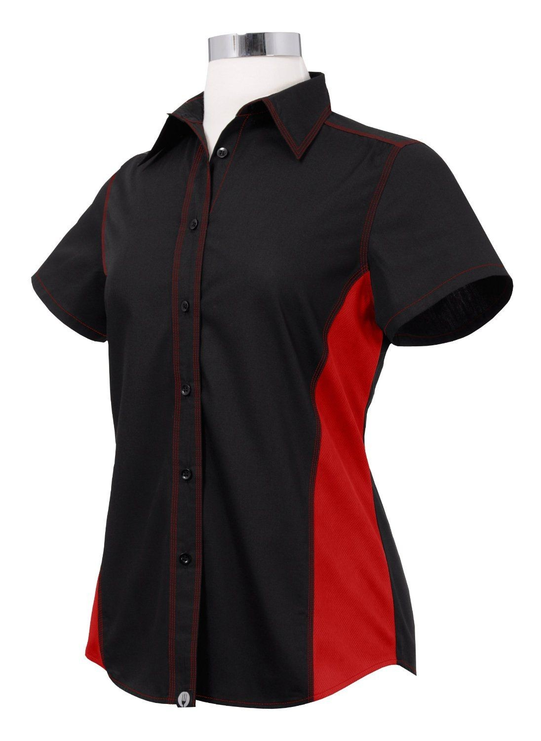 Chef Works CSWC-BRM Women's Universal Contrast Shirt Black,Red